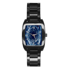 Worm Hole Line Space Blue Stainless Steel Barrel Watch by Mariart