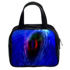 Black Hole Blue Space Galaxy Classic Handbags (2 Sides) by Mariart