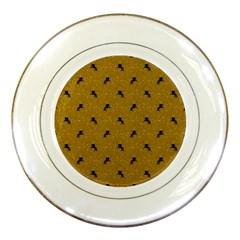 Unicorn Pattern Golden Porcelain Plates by MoreColorsinLife