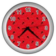 Unicorn Pattern Red Wall Clocks (silver)  by MoreColorsinLife