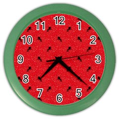 Unicorn Pattern Red Color Wall Clocks by MoreColorsinLife