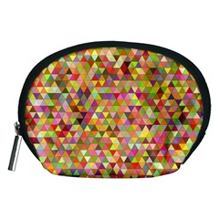 Multicolored Mixcolor Geometric Pattern Accessory Pouches (medium)  by paulaoliveiradesign