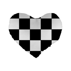 Grid Domino Bank And Black Standard 16  Premium Flano Heart Shape Cushions by Nexatart