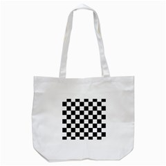 Grid Domino Bank And Black Tote Bag (white) by Nexatart