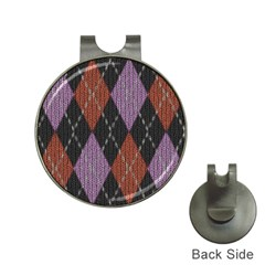 Knit Geometric Plaid Fabric Pattern Hat Clips With Golf Markers by paulaoliveiradesign