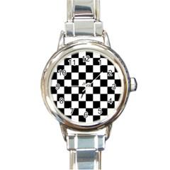 Grid Domino Bank And Black Round Italian Charm Watch by Nexatart