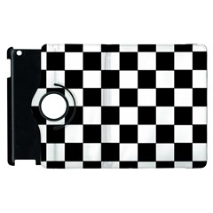 Grid Domino Bank And Black Apple Ipad 3/4 Flip 360 Case by Nexatart