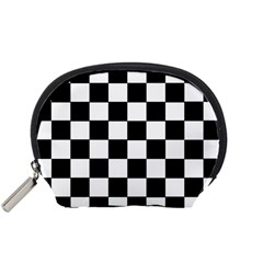 Grid Domino Bank And Black Accessory Pouches (small)  by Nexatart