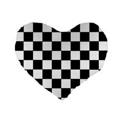 Grid Domino Bank And Black Standard 16  Premium Flano Heart Shape Cushions by Nexatart