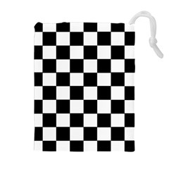 Grid Domino Bank And Black Drawstring Pouches (extra Large) by Nexatart