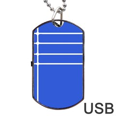 Stripes Pattern Template Texture Blue Dog Tag Usb Flash (one Side) by Nexatart