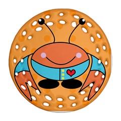Crab Sea Ocean Animal Design Round Filigree Ornament (two Sides) by Nexatart