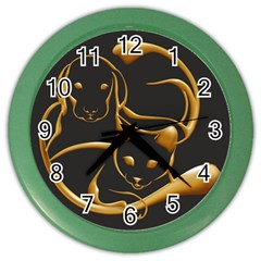 Gold Dog Cat Animal Jewel Dor¨| Color Wall Clocks by Nexatart