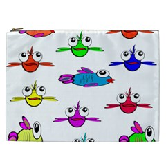 Fish Swim Cartoon Funny Cute Cosmetic Bag (xxl)  by Nexatart