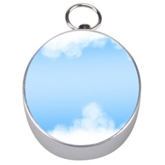 Sky Cloud Blue Texture Silver Compasses by Nexatart