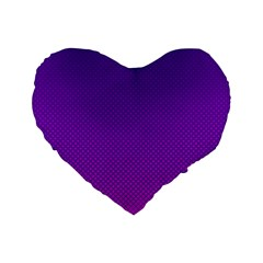 Halftone Background Pattern Purple Standard 16  Premium Flano Heart Shape Cushions by Nexatart