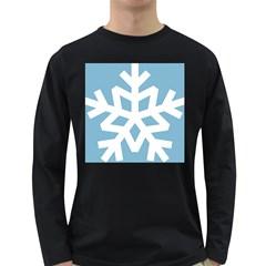 Snowflake Snow Flake White Winter Long Sleeve Dark T Shirts by Nexatart