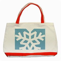 Snowflake Snow Flake White Winter Classic Tote Bag (red) by Nexatart