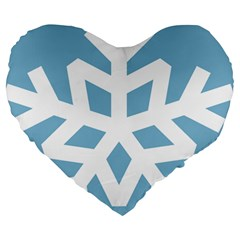 Snowflake Snow Flake White Winter Large 19  Premium Heart Shape Cushions by Nexatart