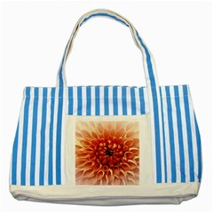 Dahlia Flower Joy Nature Luck Striped Blue Tote Bag by Nexatart