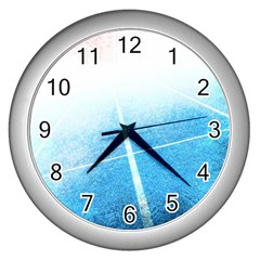 Court Sport Blue Red White Wall Clocks (silver)  by Nexatart