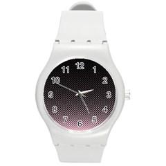 Halftone Background Pattern Black Round Plastic Sport Watch (m) by Nexatart