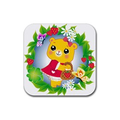 Bear Strawberries Rubber Square Coaster (4 Pack)  by Nexatart