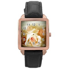 Roses Vintage Playful Romantic Rose Gold Leather Watch  by Nexatart