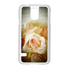 Roses Vintage Playful Romantic Samsung Galaxy S5 Case (white) by Nexatart