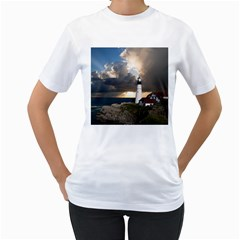 Lighthouse Beacon Light House Women s T Shirt (white) (two Sided) by Nexatart
