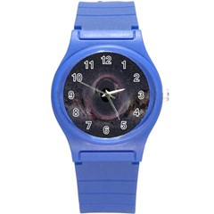 Black Hole Blue Space Galaxy Star Round Plastic Sport Watch (s) by Mariart