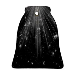 Black Rays Light Stars Space Ornament (bell) by Mariart