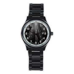 Black Rays Light Stars Space Stainless Steel Round Watch by Mariart