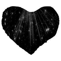 Black Rays Light Stars Space Large 19  Premium Flano Heart Shape Cushions by Mariart