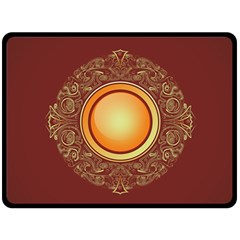 Badge Gilding Sun Red Oriental Double Sided Fleece Blanket (large)  by Nexatart