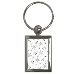 Black Holiday Snowflakes Key Chains (rectangle)  by Mariart