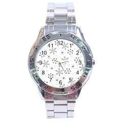 Black Holiday Snowflakes Stainless Steel Analogue Watch by Mariart