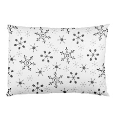 Black Holiday Snowflakes Pillow Case (two Sides) by Mariart