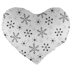 Black Holiday Snowflakes Large 19  Premium Heart Shape Cushions by Mariart