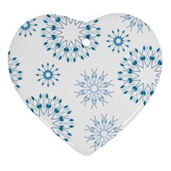 Blue Winter Snowflakes Star Triangle Ornament (heart) by Mariart