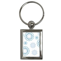 Blue Winter Snowflakes Star Triangle Key Chains (rectangle)  by Mariart