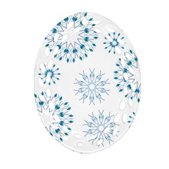 Blue Winter Snowflakes Star Triangle Ornament (oval Filigree) by Mariart
