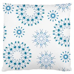 Blue Winter Snowflakes Star Triangle Large Cushion Case (one Side) by Mariart