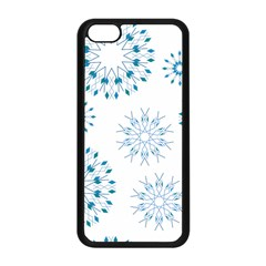 Blue Winter Snowflakes Star Triangle Apple Iphone 5c Seamless Case (black) by Mariart