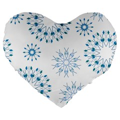 Blue Winter Snowflakes Star Triangle Large 19  Premium Flano Heart Shape Cushions by Mariart