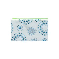 Blue Winter Snowflakes Star Triangle Cosmetic Bag (xs) by Mariart