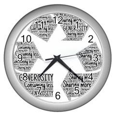 Recycling Generosity Consumption Wall Clocks (silver)  by Nexatart