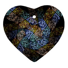 Multi Color Tile Twirl Octagon Heart Ornament (two Sides) by Nexatart