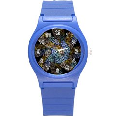 Multi Color Tile Twirl Octagon Round Plastic Sport Watch (s) by Nexatart