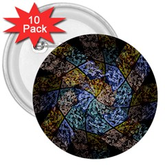 Multi Color Tile Twirl Octagon 3  Buttons (10 Pack)  by Nexatart